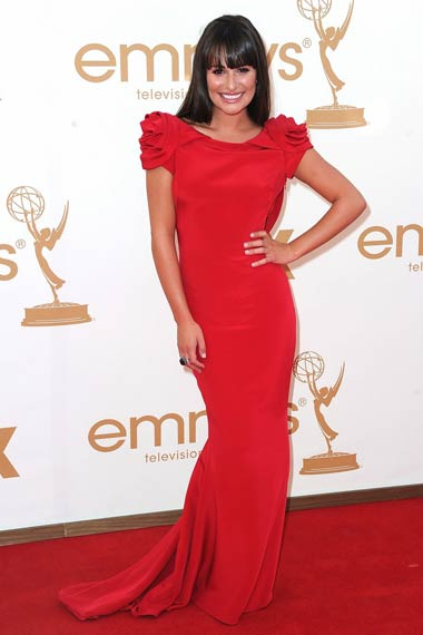 Lea Michele in Red Dress at Emmy Awards 2012