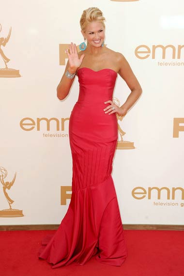 Nancy O'Dell in Red Dress at Emmy Awards 2012