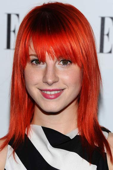 Hayley Williams with bright red hair