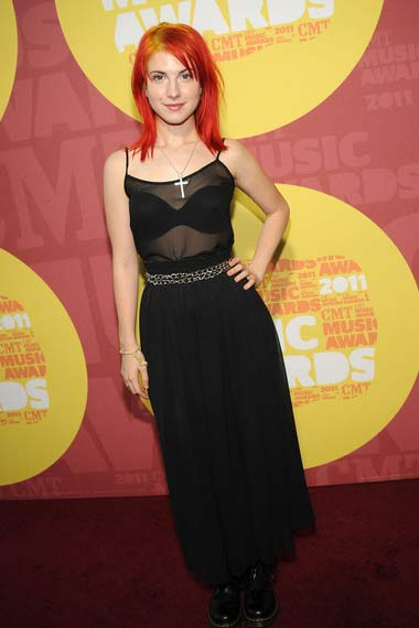 Hayley with red hair and slight yellow highlight