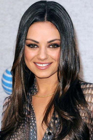 Mila Kunis's Perked-Up Brunet hair