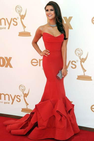 Nina Dobrev in Red Dress at Emmy Awards 2012