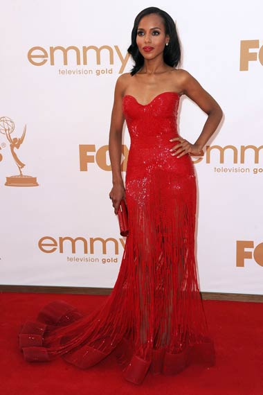 Kerry Washington in Red Dress at Emmy Awards 2012