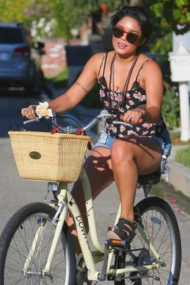 Vanessa Hudgens - Celebrities Cycling
