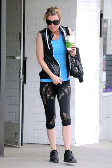 Ellen Pompeo Attractive Gym Outfit