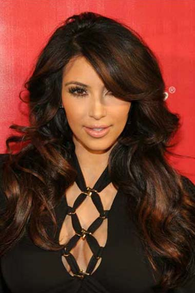 Kim Kardashian Long Highlights Wavy Brunette
