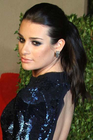 Lea Michele Sleek Ponytail