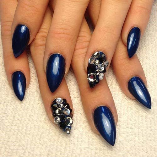 Stiletto Nail Art With Diamonds: Top Fantabulous Pointed Nail Art Trends For Spring