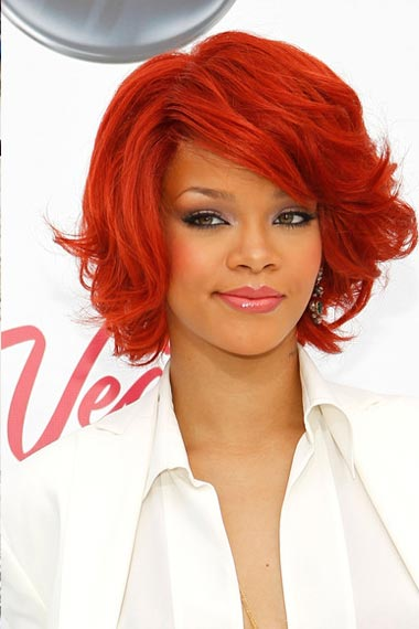 Rihanna with red short hair