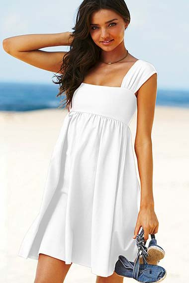 white squareneck baby doll dress