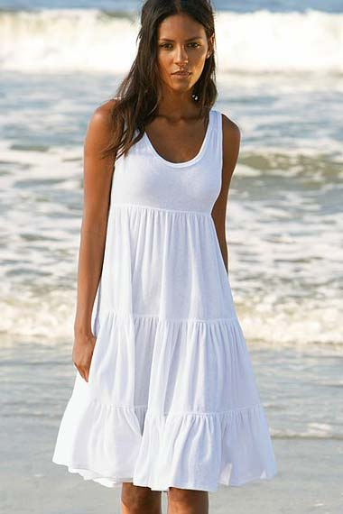 white terry tiered dress