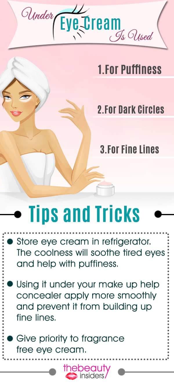 under eye cream is used