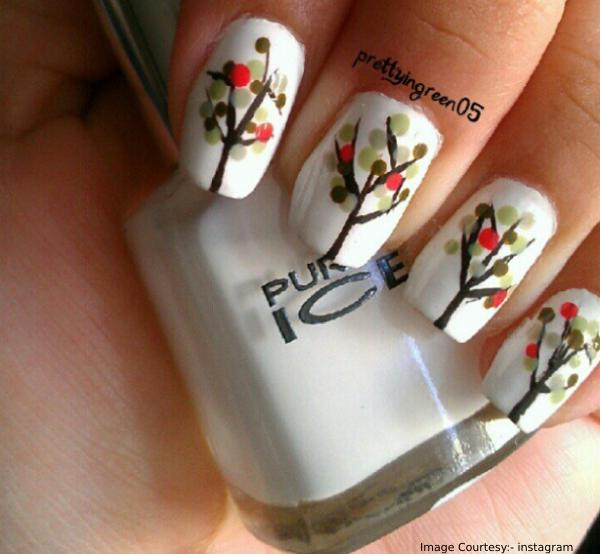 Autumn Trees Thanksgiving Nail Art