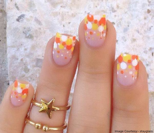 Candy Corn Polka Dots Thanksgiving Nail Art