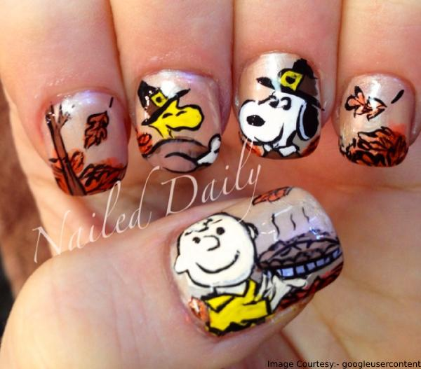 Charlie Brown Thanksgiving Nail Art