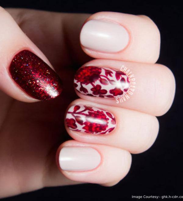 Cranberry Blossoms Thanksgiving Nail Art