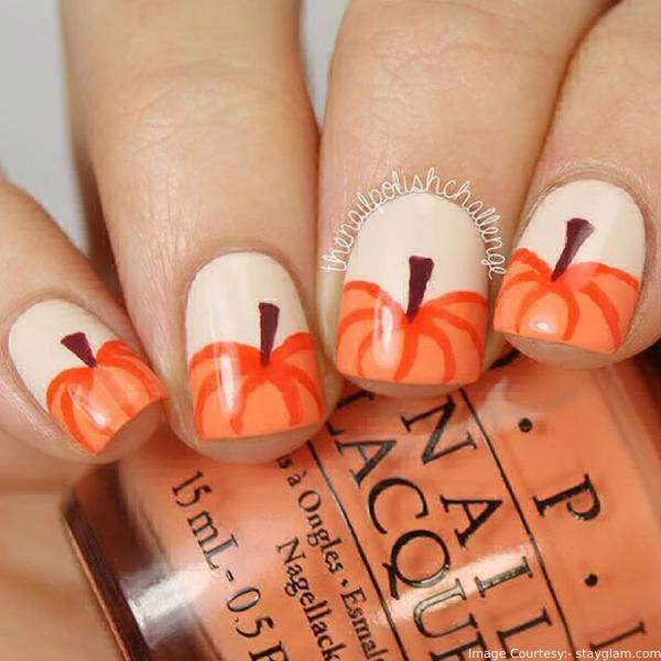 Cute Pumpkins Thanksgiving Nail Art