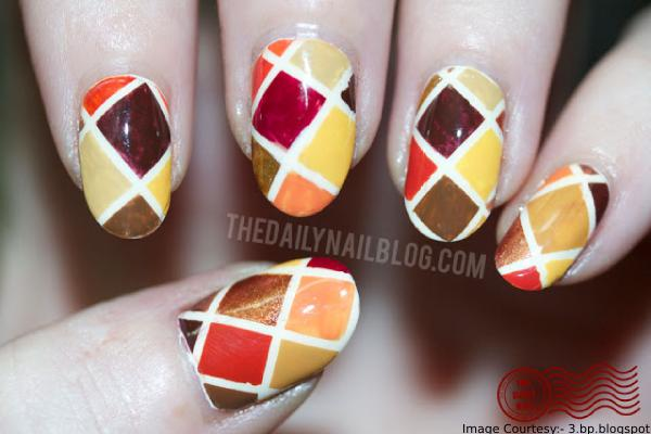 Fall Quilt Thanksgiving Nail Art