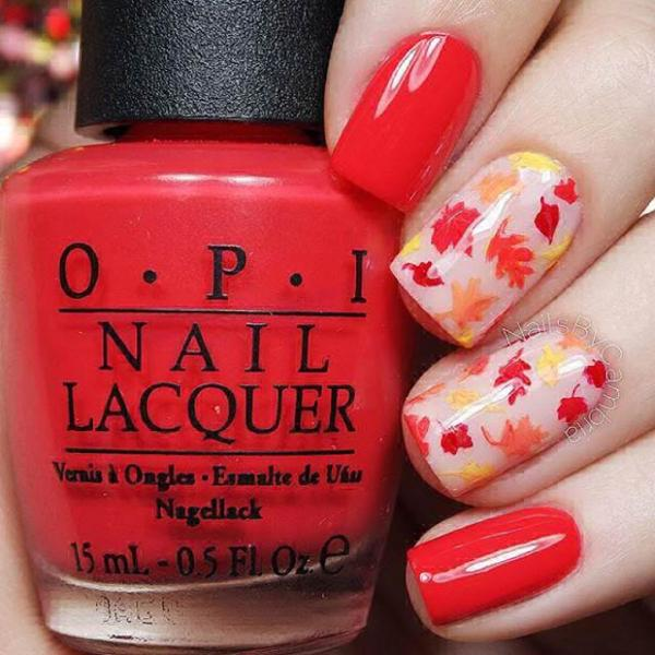 Fiery Fall Leaves Thanksgiving Nail Art