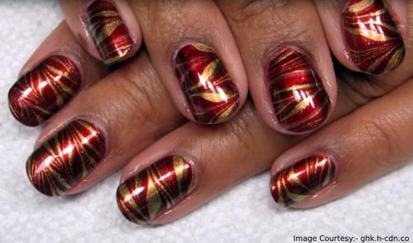 Metallic Marbling Thanksgiving Nail Art