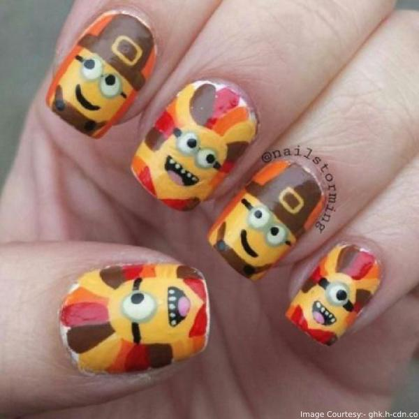 Minions Thanksgiving Nail Art