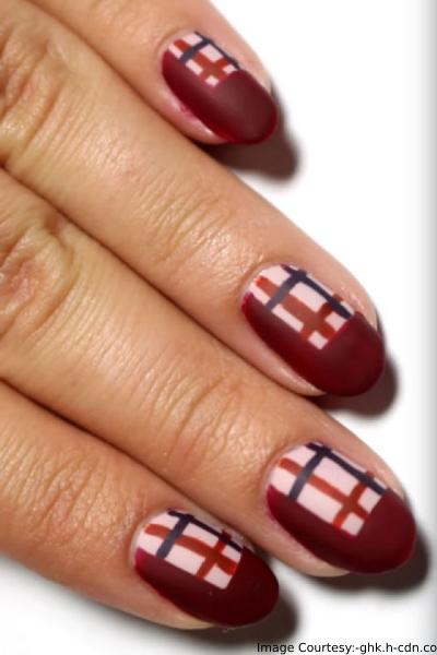 Plaid Thanksgiving Nail Art