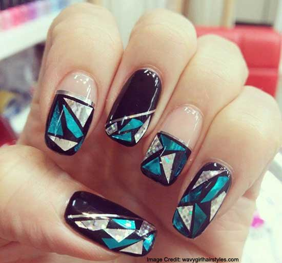 Shattered Glass Mirror Nails