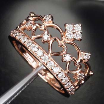 Rose Gold CZ-Studded Crown Ring