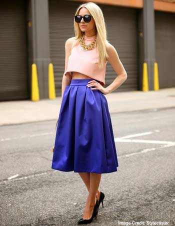 Blue Knee length Skirt