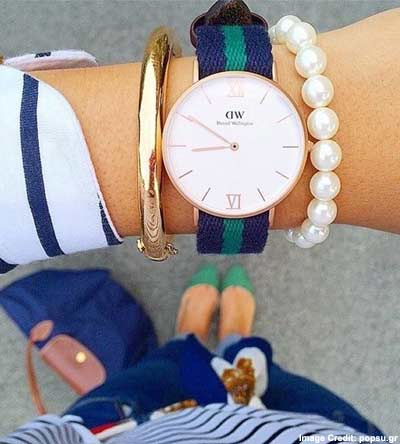 Daniel Wellington Women's Glasgow Stainless Steel Watch With Striped Nylon Band