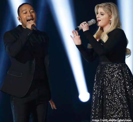Meghan Trainor made a duet performance with John Legend