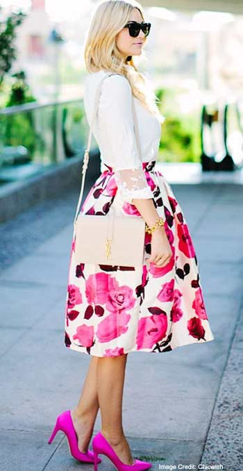 Pink Floral Print Skirt