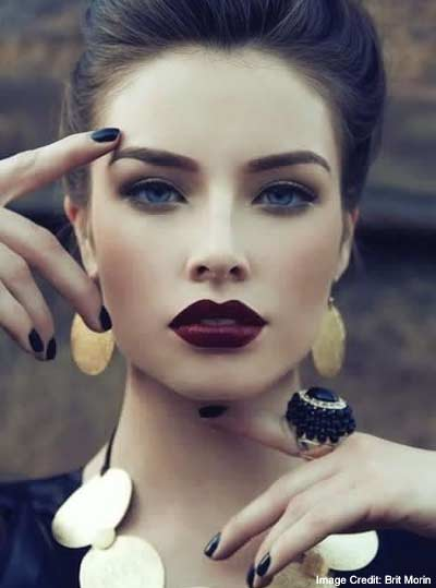 Wear Dark Lipstick With your Hair Pinned Up