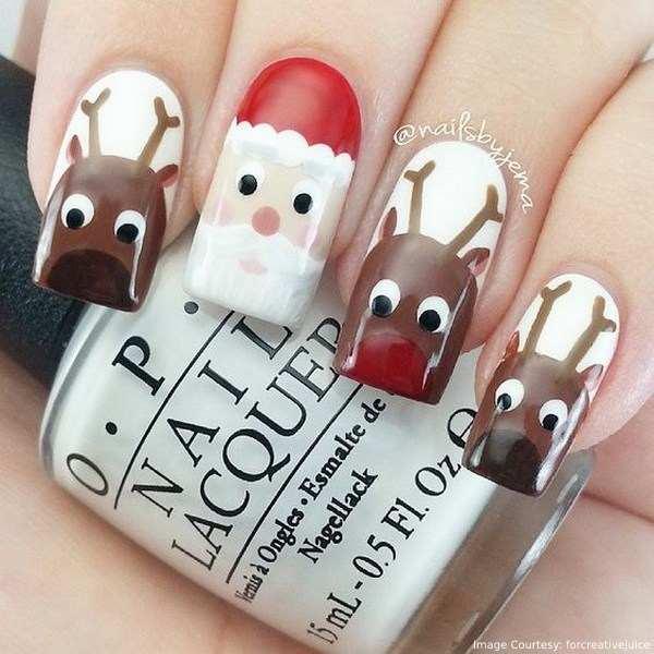 Christmas Reindeer Nail Art
