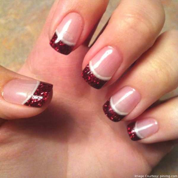 french manicure with a christmas twist