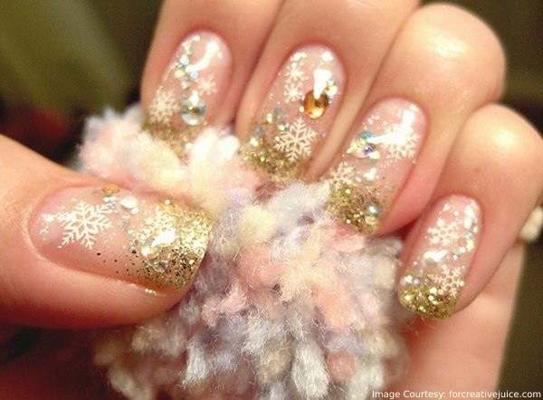 Gold and Glitter for Christmas nail art