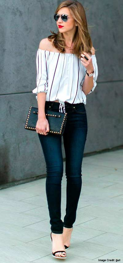 1. Layered off-the-shoulder Look