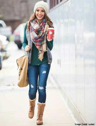 Denim Pants with Subtle Christmas Colors
