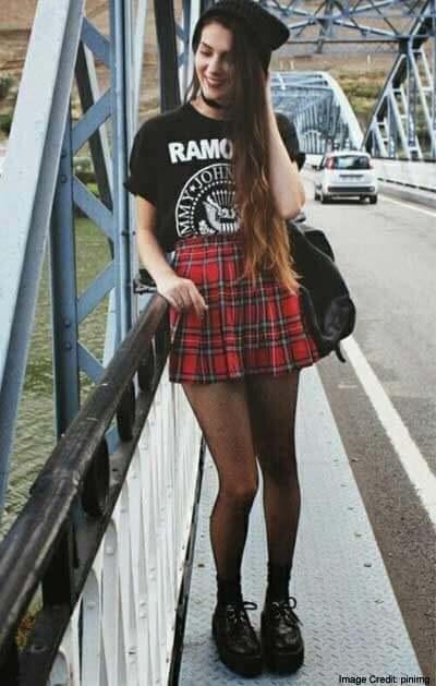 Plaid Skirt Layered Over Black Tights