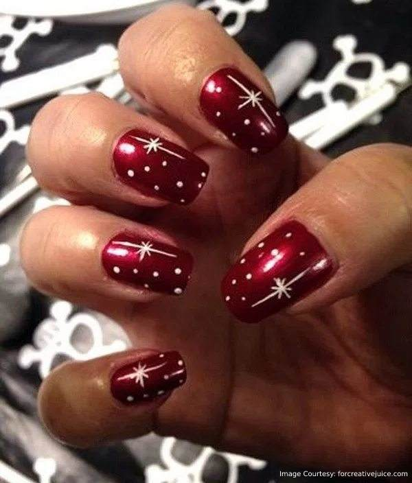 Red Christmas Nail Art With White Designs