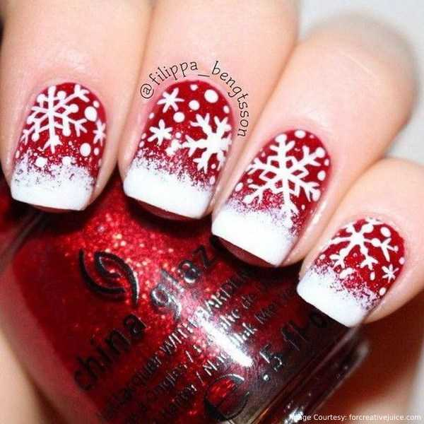 Red Nails With Beautiful Snowflakes for Christmas