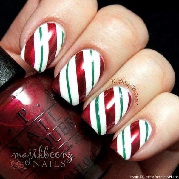 Striped nail art design  for Christmas