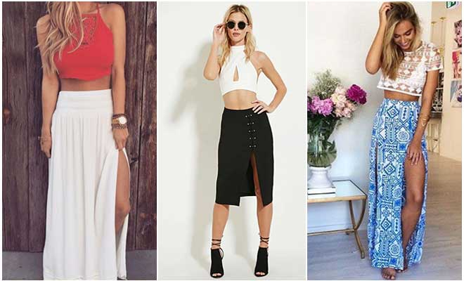 Cropped Top And High-Slit