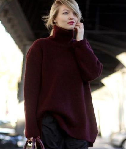 Knitted Maroon Sweater1