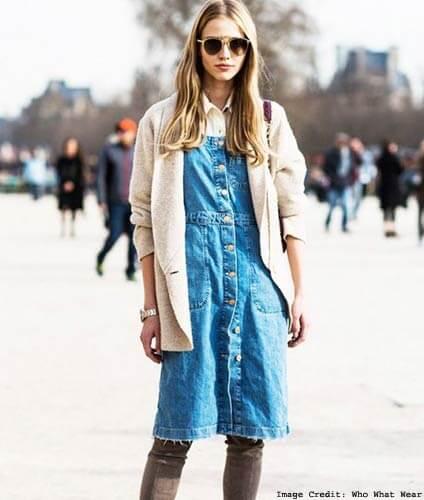 Button-Down Denim Shirt Dress
