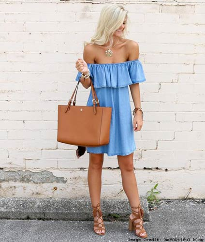 Off-The-Shoulder Denim Blouses Or Dresses
