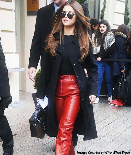 Black Top, Red Leather Pants
