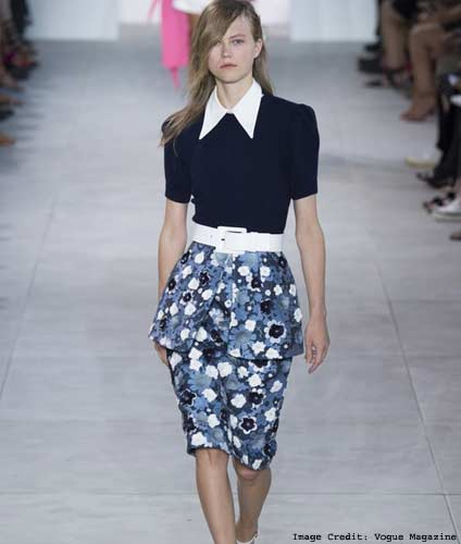 White Collared Plain Colored Blouse Paired With Floral, Pencil Length Skirt