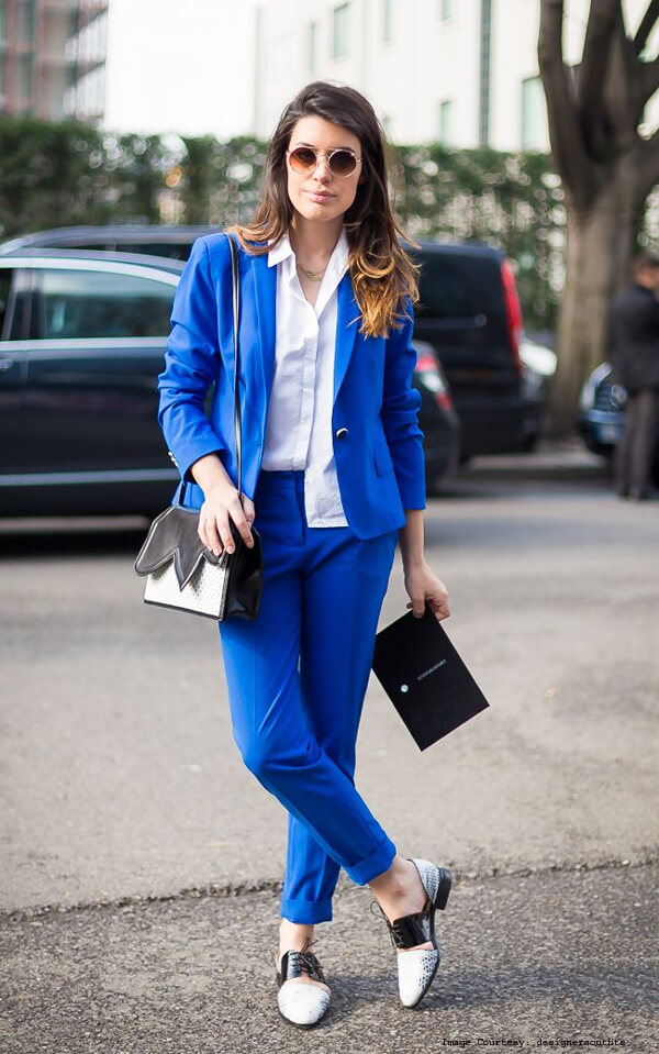 A Colorful Dress And Blue Blazer