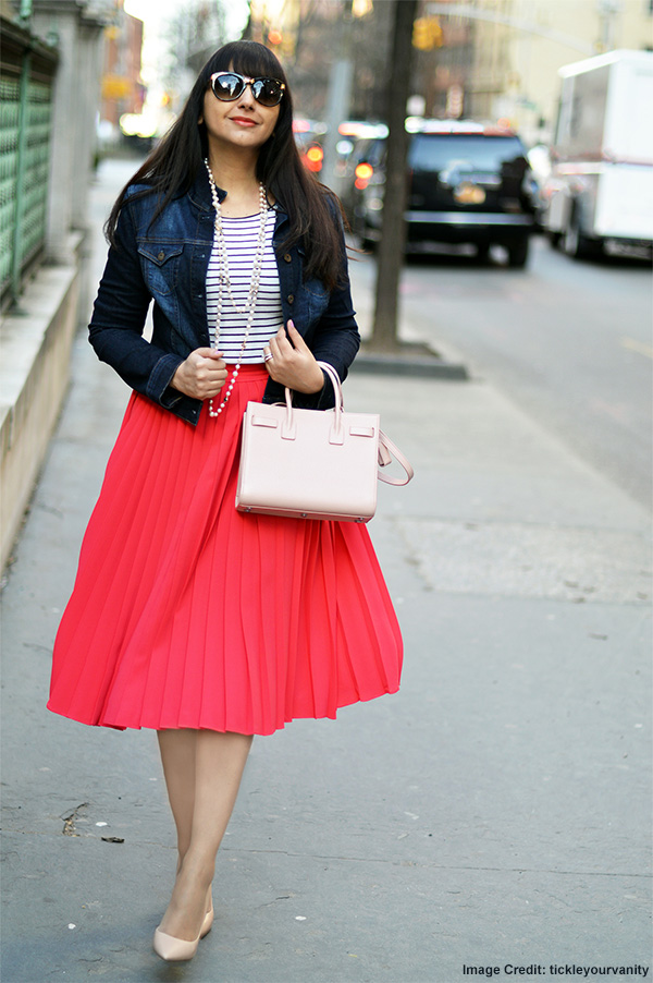 Blazer, Tee, Pleated Midi Skirt And Pumps